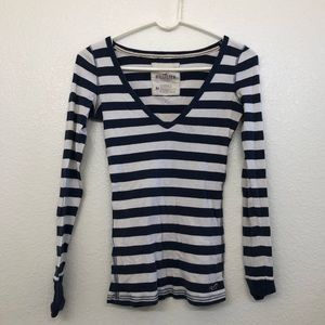 Hollister Navy Blue and White Striped Long Sleeve